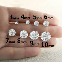 Round Cut Diamond Womens Stud Earrings 925 Sterling Silver Push Back