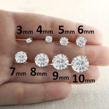 Round Cut Diamond Womens Stud Earrings 925 Sterling Silver Push Back