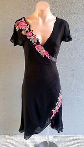 ❤️ KAREN MILLEN Party Silk Embroidered Dress Black Size 10 Buy7=FreePost L874