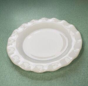 "Vintage Hazel Atlas Crinoline White Luncheon 7"" Plate Pie Crust Ruffle"