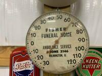 Rare Vintage Fisher Funeral Home Ambulance Service Glass Front Thermometer Sign