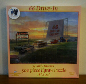 NEW Andy Thomas 66 Drive-In 500 Piece Jigsaw Puzzle, Sealed