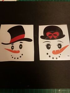 snowman/lady hat face vinyl decals mug glass gift diy sticker Christmas