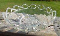 """Vintage Glass  Open Lace Edged Bowl Fruit Design 8"""""""