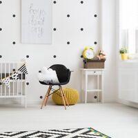 100 x BLACK SPOTS CIRCLES SCANDI MONOCHROME WALL STICKER DECAL KIDS ROOM DECOR