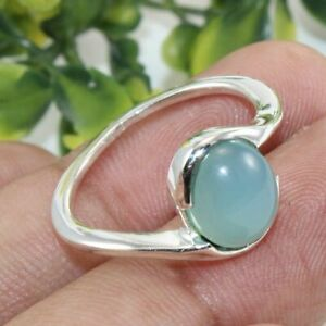 Natural Blue Chalcedony Ring,Oval Ring-Promise Ring-Sagittarius Birthstone,Love