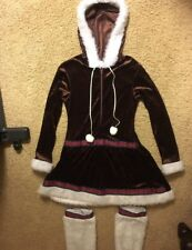 Woman's Eskimo Kisses Hoodie Dress Costume Size L ~ White Faux Fur Boot Covers
