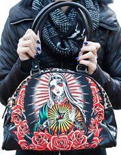 Liquorbrand Faith Punk Virgin Mary Rockabilly Tattoo Gun Leopard Handbag Purse