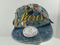 Vintage Lot Of Over 50 Pinback Buttons Lapels Hat Pins On Denim Paris Hat