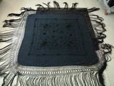 Antique Chinese Hand Embroidery Piano Shawl 122by122+ Fringe 56Cm black&black