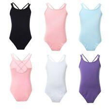 Girls Ballet Gymnastics Dance Leotard Double Straps Bodysuit Dancewear 3-14Y