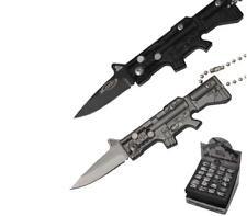 "MACHINE GUN mini RIFLE 4.5"" FOLDING KNIFE W BALL CHAIN knives #472 keychain guns"