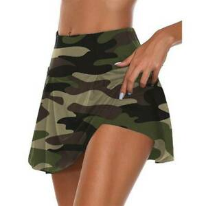 Women Elastic High Waisted Yoga Tennis Skort Sport Running Athletic Skirt Shorts