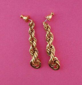 Vintage Monet Gold Tone Twisted Rope Drop Earrings