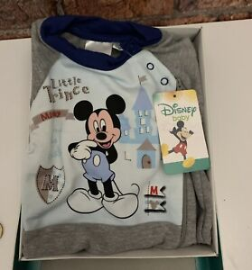 Disney Mickey little prince blue/grey Baby Grow Romper size 9 Months Boxed