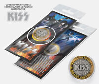Сoin 10 rubles World Rock KISS Gene Simmons Paul Stanley Peter Criss Ace Frehley
