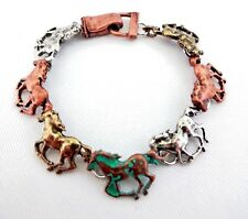 Galloping Horses Bracelet Patina Multi-Color Magnetic Clasp Equine Fan Rider
