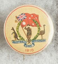 World War One Australia Day Anniversary 1918 Kangaroo Emu Pinback Button Badge