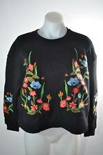 Philosophy Black Crop Sweater Top Embroidered Flowers Long Sleeve Womens Size S