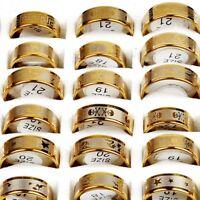 15 stück Unisex Edelstahl Muster Finger Ring Gold Band Schmuck Neueste Mixed