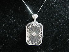 14k White Gold Art Deco Filigree Camphor Crystal/Diamond Pendant/Necklace, 4.35g