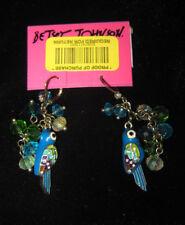 Betsey Johnson JUNGLE FEVER RARE BLUE PARROT AND BEADS DANGLE EARRINGS