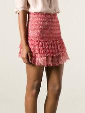 """ISABEL MARANT """"Zelia"""" Smocked Mini Skirt SZ 36 Red Ruffle Tier"""
