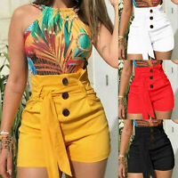 Women Summer High Waist Lace Up Casual Shorts Hot Pants Short Trousers Plus Size
