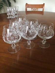 Set Of 6 CRYSTAL CUT GLASS BRANDY GLASSES FINE QUALITY