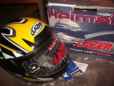 MOTORCYCLE HELMET ATTACK RACER 2 LAZER EXTRA SMALL (XS) BLACK YELLOW SILVER R17