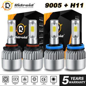 9005 H11 LED Headlight Combo Hi Lo Beam For Chevy Silverado 2500 3500 HD 07-17