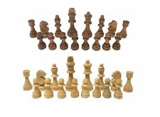 32 Piece Wooden Hand Crafted Carved Chess Set Small 7 cm King Knight