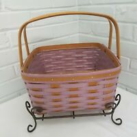 Longaberger 2013 Purple/Brown Splint Cake Basket Protector Wrought Iron Stand