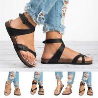 Summer Women'S Flat Bottom Pedal Sandals Belt Buckle Shoes Roman Sandals Size