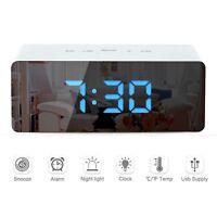 2019 Modern HD Multifunction Mirror LED Alarm Clocks Digital Slilent Table Clock