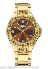 BUFFALO Damen Armbanduhr Uhr mit bunten Swarovski Kristallen goldfarben