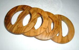 Vintage Wooden Circular Shaped Belt Buckles (x4)