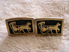 Vintage Hickok Cufflinks with Horse Drawn Carriage