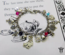Alice in Wonderland Cheshire Cat Themed Beaded Charm Bracelet