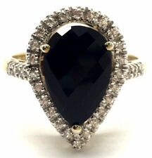 Sterling Silver 925 Two Tone Pear Black Onyx CZ Halo Pave Band Cocktail Ring