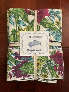 """April Cornell TABLECLOTH 60""""x120"""" Oblong FLORAL Yellow Teal Green Raspberry NWT"""