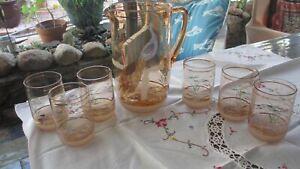 Vintage Water/Lemonade Set with Peacock Design Sugar Frosted 6 glasses