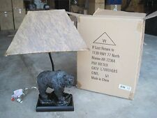 Vintage Verandah BEAR with FISH Sculptural Table Lamp- HomeDecor Lighting Rustic