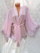 STUNNING $100  Victoria Secret Chiffon & Eyelash Lace Kimono Robe NWT OS