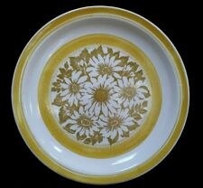 Jamestown China Dinner Plates Yellow Bands Brown White Floral Flower Pattern