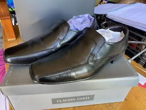Claudio Conti Men's Black Leather Slip On Formal Shoes - Size 10 - New & Boxed