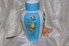 Vintage Milk Glass Blue Tall Large Bud Vase Hand Painted Flowers Roses 10in