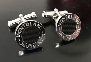 MontBlanc Carbon Fiber Platinum Round Cufflinks Logo Mint