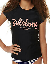 "BRAND NEW + TAG BILLABONG GIRLS (8) WET SHIRT RASH VEST RASHIE ""RIPTIDE"" BLACK"