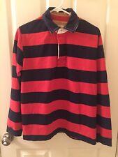 Mini Boden Boys Orange Navy Blue Rugby Striped Long Sleeve Shirt Sz 13-14 Years